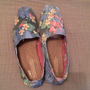 TOMS  floral cotton/canvas slip on shoes